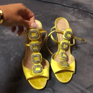 Shoes - Manolo Blahnik Yellow Suw Jeweles Satin Sandals